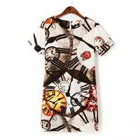 Summer Clock Print Short Sleeve Dress Casual One Piece Dress [4917802692]