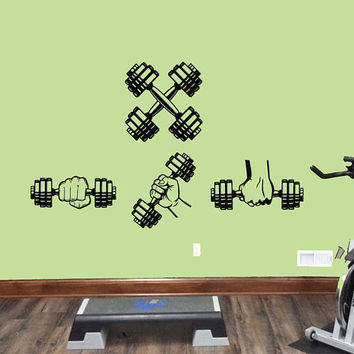 Dumbbells Set Workout Wall Decal, Dumbbell Workout Wall Sticker, Garage Gym Wall Decor, Fitness Motivation Wall Decal, Gym Wall Mural se097