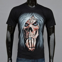 fashion 3D printing skull death T-shirt shirt hip-hop clothing = 1956698756