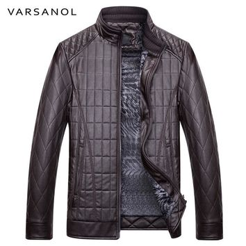 Long Sleeve Jacket Men Bomber Casual Leather Jacket Winter Warm Stand Collar Slim Zipper With Pocket Outwear
