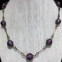 Art Deco Purple Bead Necklace, Czech Graduated Glass Beads, Brass Tone Metal Links, Vintage Jewelry 718m