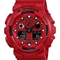 G-Shock Watch, Men's Analog-Digital Red Resin Strap 51x55mm GA100C-4A