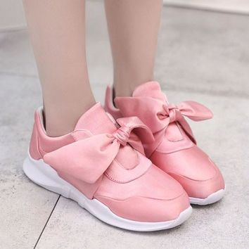 Pink Round Toe Flat Bow Casual Shoes