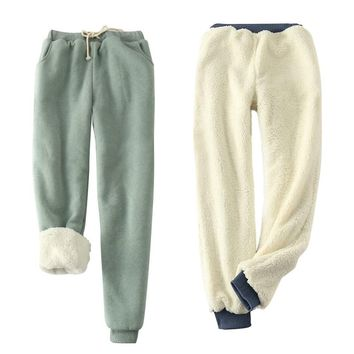 Winter cashmere Thick Elastic Waist loose Pants plus Size Solid 9 Color wool cotton warm Women Casual velvet Trousers Pants