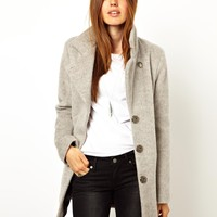 ASOS Mohair Coat With Leather Look Trims