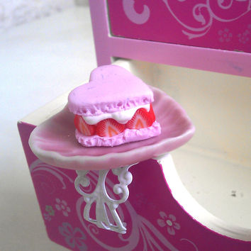 Strawberry macaroon  miniature food ring by BiteMeNot on Etsy