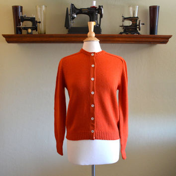 Vintage Cardigan Sweater, The Villager, Burnt Orange, 100% Wool, New Old Stock, With Tags, Size 40, 1960s