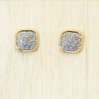Speckled Square Earrings In Pale Blue
