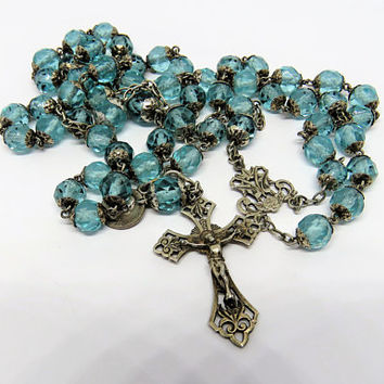 Antique French, Art Nouveau, Crystal Rosary, Turquoise Blue
