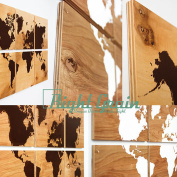 Large Wood Grain World Map Print Collection - Custom Large Wall Art - Perfect Gift