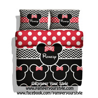 Polka dot and Chevron Minnie Mouse Bedding with 2 Matching Pillows -  Personalize with Name or Monogram - Black and Red Disney