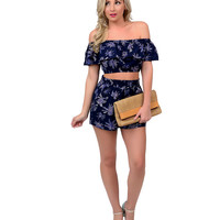Retro Style Navy Palm Tree High Waist Shorts