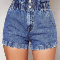 PacSun Cinched Blue Denim Mom Shorts at PacSun.com