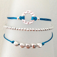 Triple Silver Friendship Bracelet with Adjustable Cord in Dark Cyan - Greenish Blue