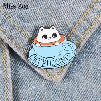 Cat coffee Enamel pin Coffee cup brooch Bag Clothes Lapel Pin Button Badge Cartoon cute animal Jewelry Gift for friends kids