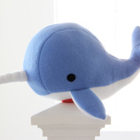 narwhal plush toy- Noah- blue soft fleece whale narwal plushie