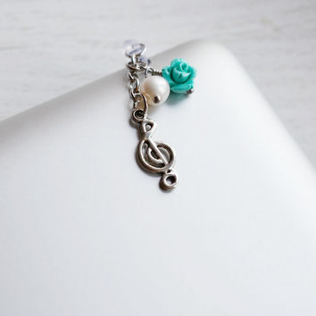 iPhone Charm Dust Plug 3.5mm,Turquoise Rose iPhone Charm,Silver Music Note Charm Plug,Accessory,kawaii,dust proof,smart phone pluggy