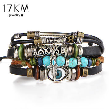 Punk Design Turkish Evil Eye Bracelets For Women Men Wristband Female Owl Leather Bracelet Ethnic Turquoise Vintage