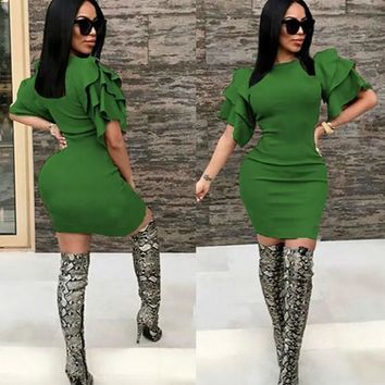 Green Cascading Ruffle Round Neck Elbow Sleeve Mini Dress