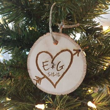 Rustic Christmas Ornament, Tree Slice Christmas Ornament, Wedding Christmas Ornament, Rustic Wedding, Rustic Christmas, Wedding Tree Slice
