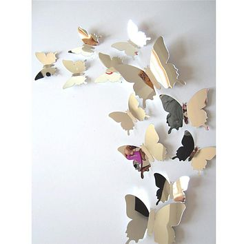 12pcs/set Mirror Wall Stickers Decal Butterflies 3D Mirror Wall Art Home Decors butterfly fridge wall decal on sale