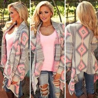 Womens Long Sleeve Waterfall Knitted Cardigan