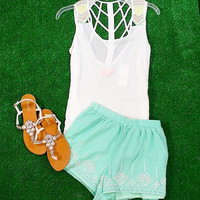 DOUBLE CROSSED BEADED CHIFFON  TANK IN WHITE
