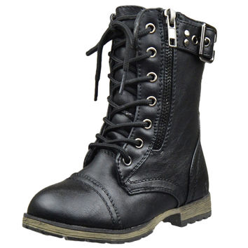 Kids Mid Calf Boots Buckle Accent Lace Up Combat Boots Black SZ