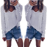 VNeck Striped Shirts