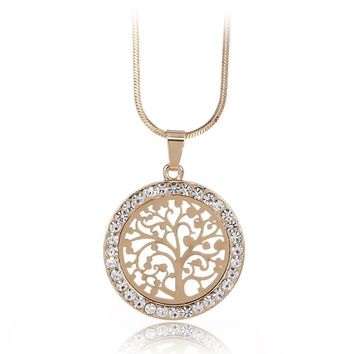 2*2cm Tree Of Life Pendant Necklace Women Jewelry 2017 Fashion Austrian Crystal Gold Color Chain Necklaces & Pendants XL06979