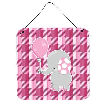 Elephant with Pink Balloon Wall or Door Hanging Prints BB6948DS66