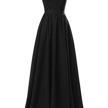 R&J Women's V-neck Open Back Lace Chiffon Floor Length Formal Evening Party Dress Black Size 16
