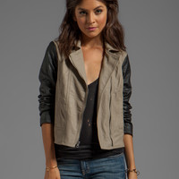 Jack by BB Dakota Kat Colorblock PU Jacket in Black/Tan
