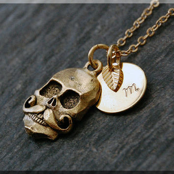 Gold Mustache Skull Charm Necklace, Initial Charm Necklace, Personalized, Day of the Dead Charm, Mustache Skull Pendant, Skull Jewelry