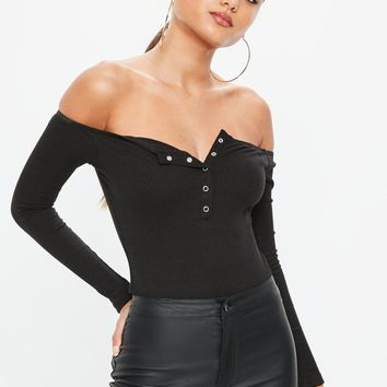 Missguided - Black Button Front Bardot Bodysuit