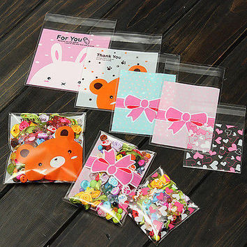 100Pcs Self Adhesive Cookie Candy Package  Bags Cellophane Party Birthday HUUS