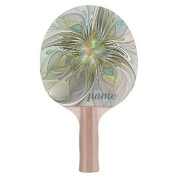 Floral Fantasy, Abstract Fractal Art Name Ping Pong Paddle