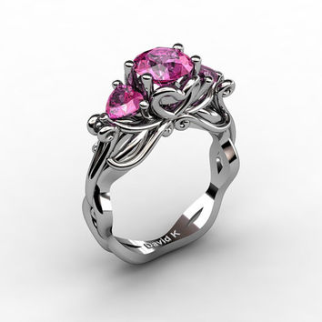 Nature Fairy 14K White Gold 1.0 Ct Round and Heart Pink Sapphire Three Stone Engagement Ring R1082-14KWGPS