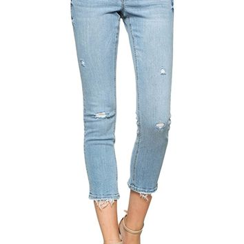 Vervet by Flying Monkey Jeans Fallen Star Light Wash Mid Rise Crop Raw Hem Skinny VT203
