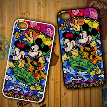 DISNEY MICKEY & MINNIE MOUSE STAINED GLASS V0102 LG G2 G3, Nexus 4 5, Xperia Z2, iPhone 4S 5S 5C 6 6 Plus, iPod 4 5 Case