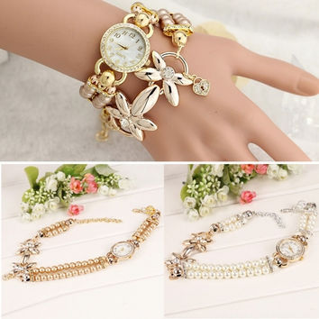 New Women Beads Band Wristwatch Round Analog Battery Charming Link Chain Casual Party Watch