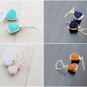 Druzy Triangle Drops