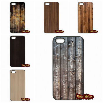 For iPhone SE 4 4S 5S 5 5C 6 6S Plus Samsung Galaxy S2 S3 S4 S5 MINI S6 S7 Edge Note 3 4 5 Wooden Wood Design Plastic Case Cover