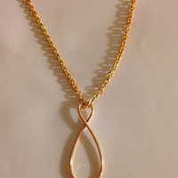 Brass infinity necklace, infinity necklace, Infinity charm necklace brass, Infinity Loops necklace