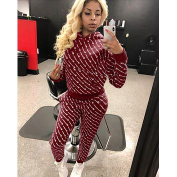 Champion Newest Women Casual Stylish Full Logo Print Hoodie Top Pants Trousers Set Two-Piece Sportswear Burgundy