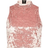 River Island Light pink velvet turtle neck crop top