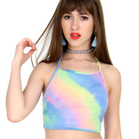 FAR OUT TIE DYE HALTER TOP