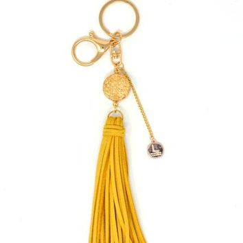 Laconic Coruscate Druzy Stone with Suede Tassel Keychain – Gold