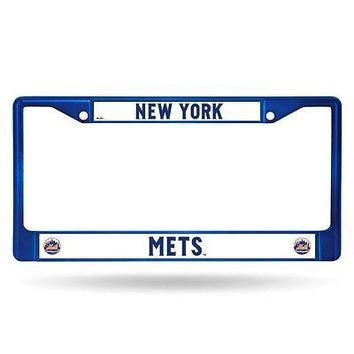 New York Mets MLB Licensed Blue Painted Chrome Metal License Plate Frame