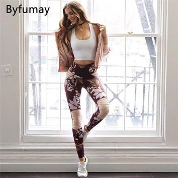Byfumay Printed Women Sport Sets Sexy Patchwork Yoga Suit Padded Sports Bra+Pants High Waist Athletic Leggings Fitness S049